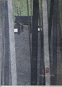 Woodblock Print of Jizo-in Kinugasayama by Saito
