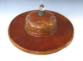 Antique Tibetan Tulku Ceremonial Lacquer Hat