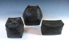 Set of Three Burmese Woven Baskets