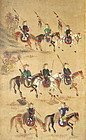 Antique Korean Eight Panel Screen Of Hunters