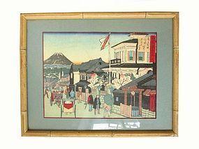 Antique Framed Hiroshige Woodblock Print