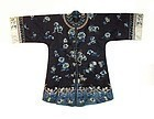 Antique Chinese Silk Robe With Crashing Waves