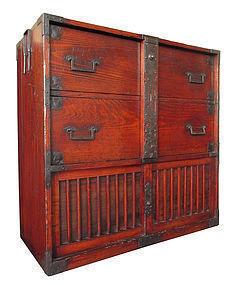 Japanese Antique Edo Period Tansu with Locking Bar