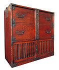 Japanese Antique Edo Period Tansu with Locking Bar