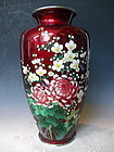 Japanese Blood Red Cloisonne Vase With Flowers