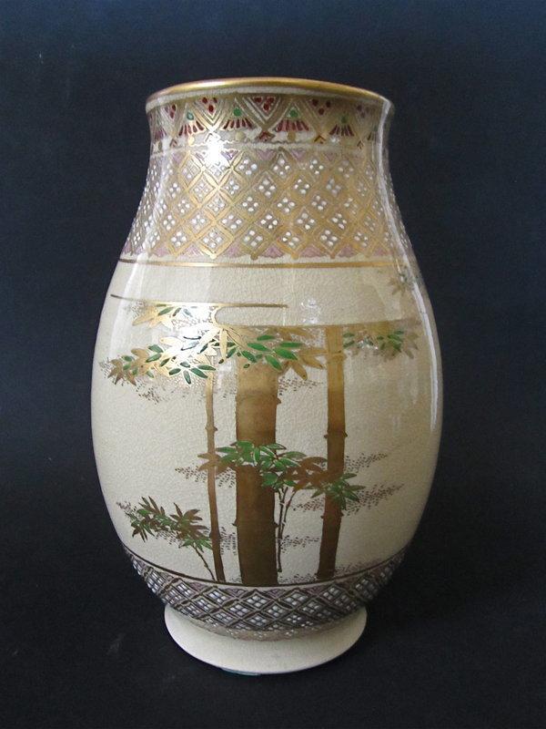Japanese Satsuma Porcelain Vase With Bamboo Stalks Item 1248504