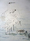 Japanese Antique Set of 6 Painting of Birds and Flowers