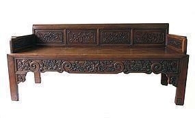Antique Carved Huanghuali Bench
