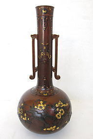 Antique Japanese Vase With Mixed Metal Inlay