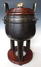 Chinese Antique Bronze Ding Tripod with Jade Finial