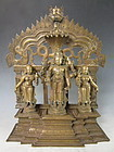 Antique Indian Bronze Vishnu and Consorts Altar