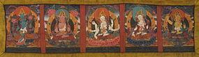 Tibetan Book Cover Painting of Five Bodhisatvas