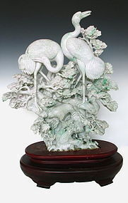 Chinese Pair of Jadeite Carvings of Cranes