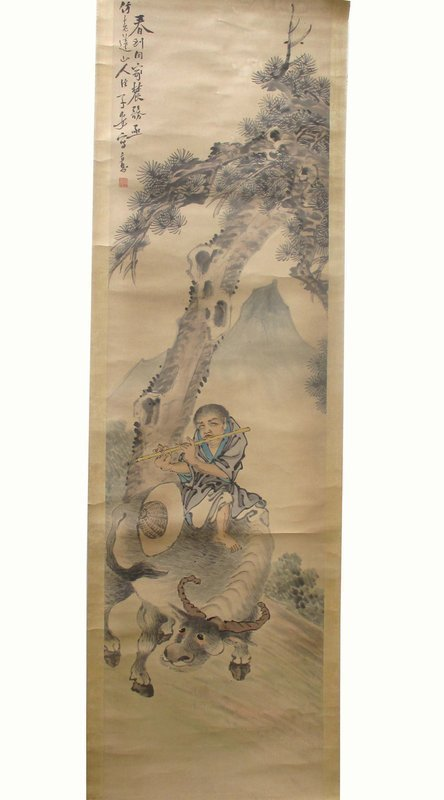 Chinese Scroll Painting of Man Playing Flute