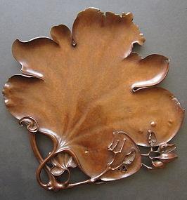 Japanese Antique Carved Burl Leaf Tray