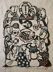 """Japanese Woodblock Print """"Last Supper"""" by Watanabe"""