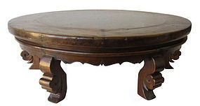 Chinese Antique Round Low Table with Marble Top