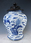 Antique Japanese Blue and White Porcelain Vase