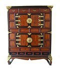 Antique Korean Chest With Bat Handles