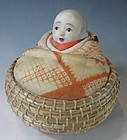 Japanese Antique Doll in Basket