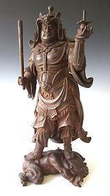 Japanese Iron Sculpture of Bishamonten by Seiun