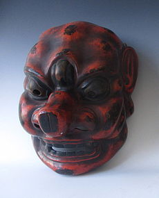Large Japanese Red and Black Lacquer Gigaku Mask