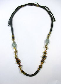 Chinese Silk and Jade Necklace