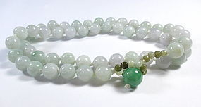 Chinese White Jade Beaded Necklace