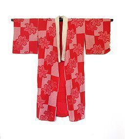 Japanese Red Shibori Under Kimono With Flowers