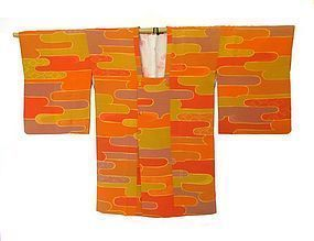 Japanese Orange Silk Kimono with Mist Pattern