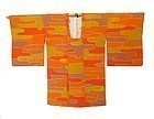Japanese Orange Silk Kimono with Mist Pattern