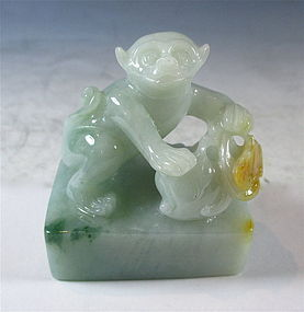 Chinese Jadeite Carving of a Monkey and Peach