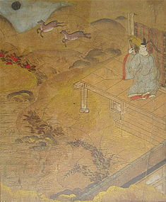 Antique Japanese Painting of Scene From Kokin Wakashu