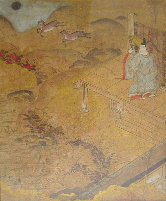 Antique Japanese Painting of Scene From Kokin Wakashu