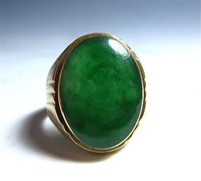 Chinese Green Jadeite 18K Gold Ring