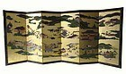 Antique Japanese Six-Panel Screen of Kyoto Region
