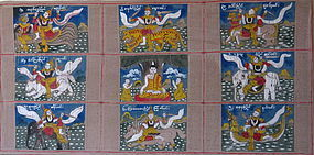Antique Burmese Religious Paintings of Buddha