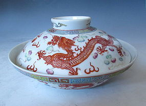 Chinese Porcelain Dragon Bowl with Lid
