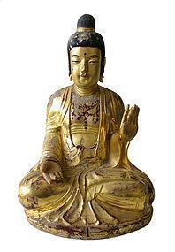 Antique Korean Wooden Amida Buddha with Gold Leaf