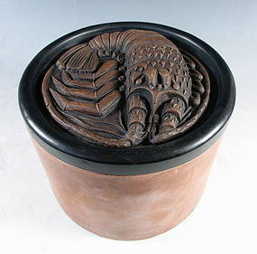 Chinese Yixing Cylindrical Box with Crayfish Lid