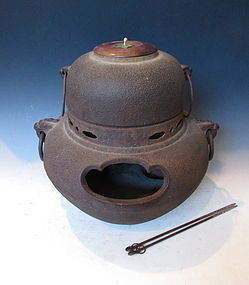 Antique Japanese Iron Tea Kettle and Brazier