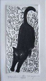 """Merlin"" etching by Mayumi Oda"