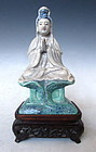 Chinese Crackle Glaze Porcelain Quan Yin