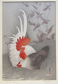 """Japanese Woodblock """"Rooster and Hen"""""""