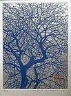 Japanese Print of Embossed Tree by Haku Maki