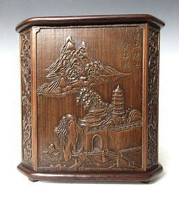 Chinese Bamboo Brush Pot with Scenic Carvings