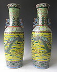 Pair of Chinese Porcelain 19th Century Dragon Vases
