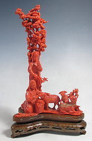 Chinese Carved Coral Scene of Women with Sheep