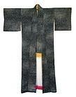 Antique Japanese Black Silk Kimono w/ Bright Lining