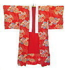 Antique Japanese Red Silk Kimono w/ Cranes and Flowers